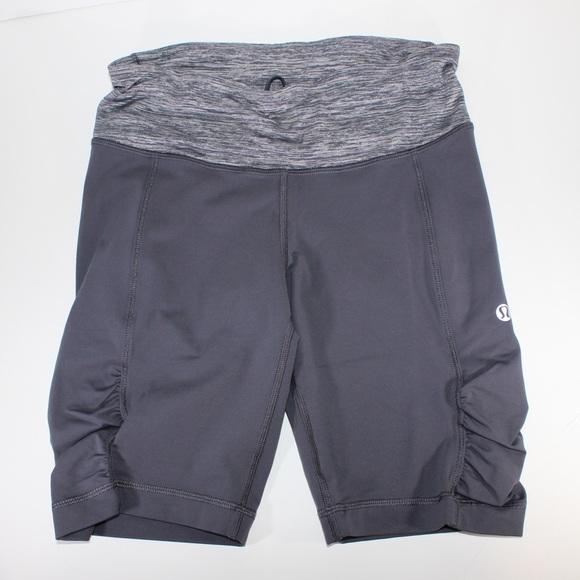 LULULEMON Cycling Bike Shorts Gray Grey Gather 6